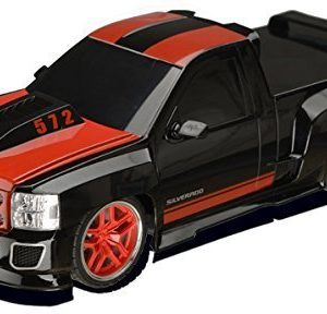 Chevy-Silverado-Electric-RC-Truck-118-Scale-Model-Truck-Black-and-Red-with-Racing-Stripes-0