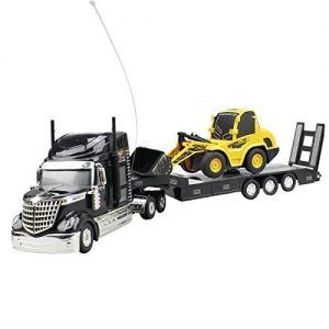 Hugine-6-Channel-Long-Hauler-Vehicle-Remote-Control-Platform-Trailer-Black-with-RC-Bulldozer-0