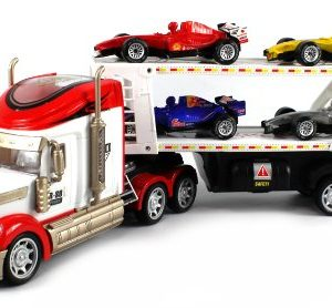 RS-8-Racing-Trailer-Electric-RC-Truck-Ready-To-Run-RTR-w-4-Extra-Toy-Formula-One-F1-Cars-Colors-May-Vary-0
