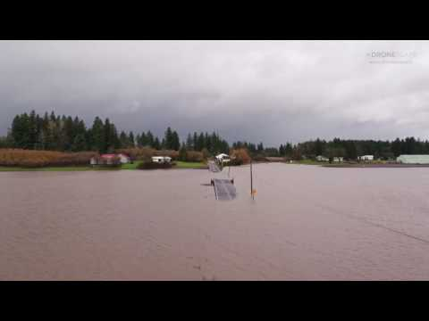 Drone video shows flooding at Little Pudding river near Salem