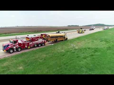 DRONE VIDEO: School bus accident in Columbia County