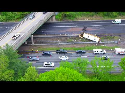 Drone video: Fatal bus crash scene on I-80