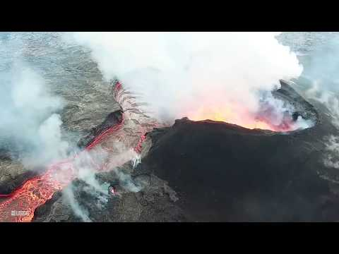 7-18 USGS 🌋 Drone Hawaii Overflight Footage Kilauea Volcano Eruption Lava Flow Update on Google 🌎