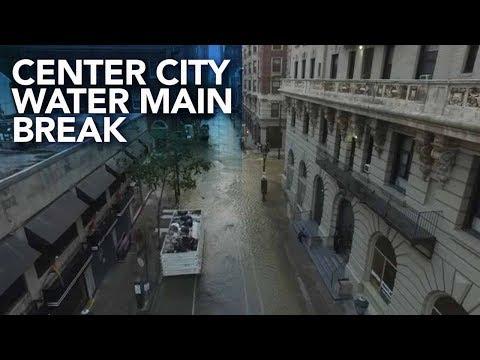 Massive water main break in Center City Philadelphia | Drone video