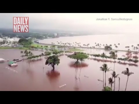 Hurricane Lane video: Shock drone footage shows parts of Hawaii SUBMERGED under floodwater