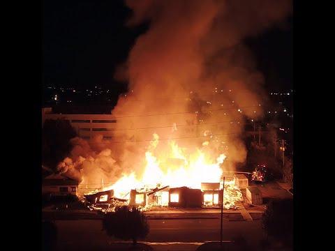 Drone video of massive fire in Birmingham