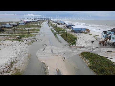 Drone video of Tropical Storm Gordon aftermath  – Dauphin Island, AL –  9-5-2018