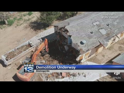 Drone video shows demolition of nuisance apartment building