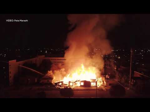 Drone video of apartment fire in Lakeview District of Birmingham