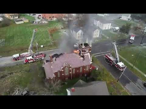 Church fire drone video