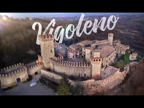 Vigoleno: the town, the castle. Aerial drone video filmed in 4K UHD