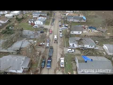 Drone video of Taylorville, IL tornado damage