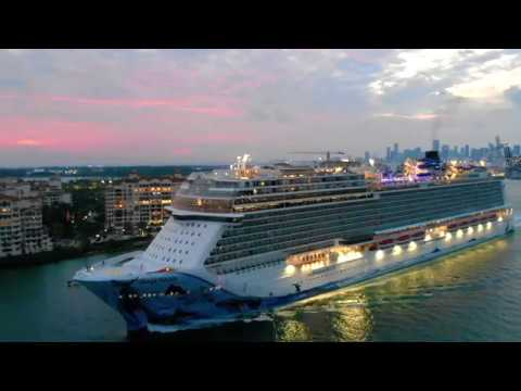 Drone Video of Norwegian Bliss Cruise Ship Leaving Miami