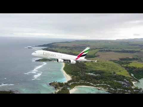 Crazy drone footage of an A380 takeoff