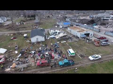 Drone video shows damage from tornado in Taylorville, Illinois