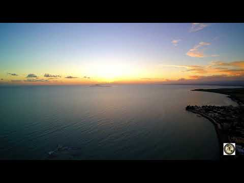 Sunset over Coffin Island from Santa Isabel, Puerto Rico (Drone video 600 feet in the air)