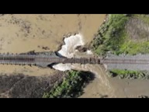 Drone video shows levee damaged in Calif. storm