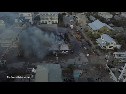 Drone video: Fire destroys Red Bar in Grayton Beach, Florida