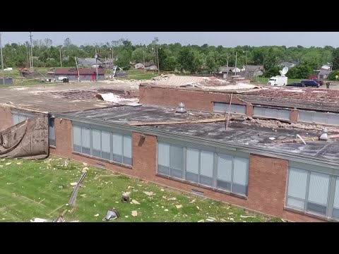 WATCH: Drone video of Dayton tornado damage, Grafton Kennedy Middle School