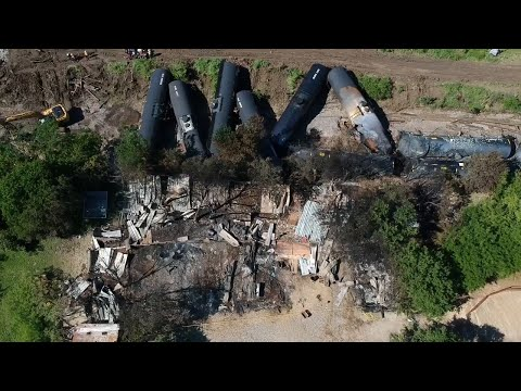Drone video shows cleanup efforts after train derailment, fire in Fort Worth, TX