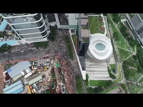 Drone video shows massive protest in Hong Kong