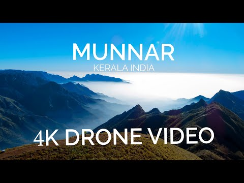 Munnar Sightseeing Destinations !! 4K Drone Video Aerial Video, Munnar hill stations