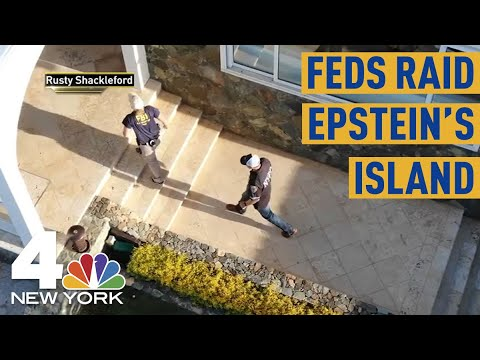 Drone Video Shows Jeffrey Epstein's Mansion on Private Island Raided by FBI, NYPD | NBC New York