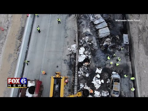 Drone video released of I-94 crash in Racine