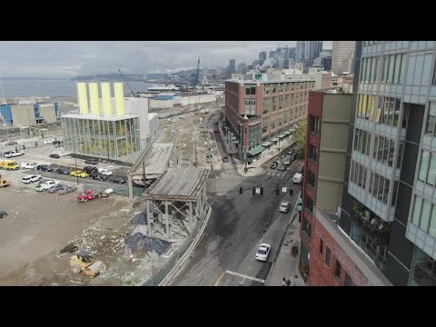 Drone video shows final double-decker piece of Seattle viaduct