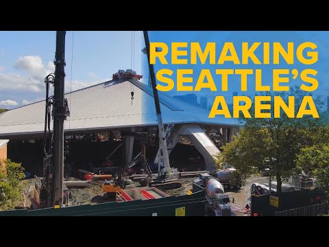Drone video of the Seattle arena renovation