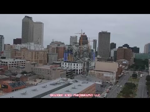 Drone video captures damage after Hard Rock Hotel collapse in New Orleans