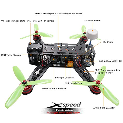ARRIS X-Sd 250B V3 250 FPV Racing Drone Camera Drone RTF W/ Flycolor on