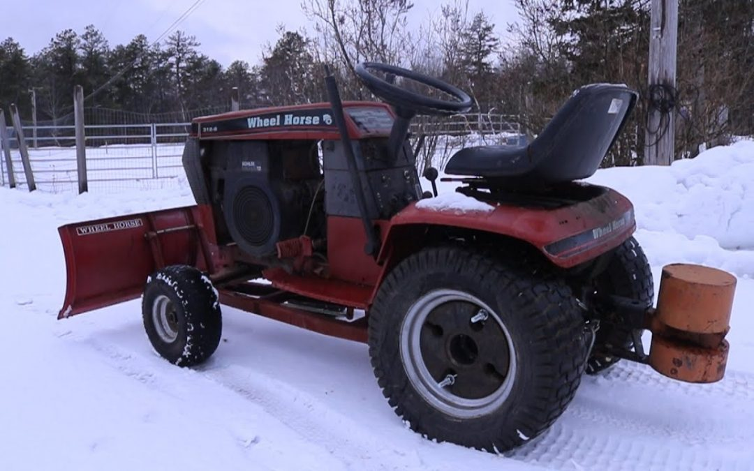 Wheel Horse 312-8 Snow Plowing | Vintage Garden Tractor | Aerial Drone Footage | Kohler Magnum 12