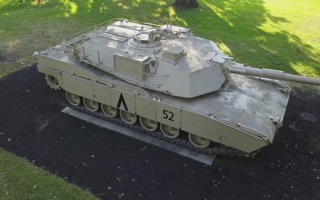 M1 Abrams Main Battle Tank Aerial Drone Video
