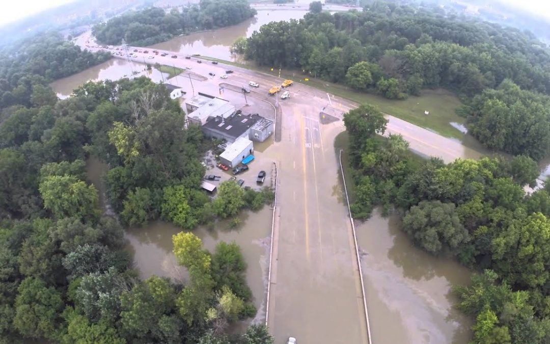 Hayes Road Flooded Aerial Drone Video